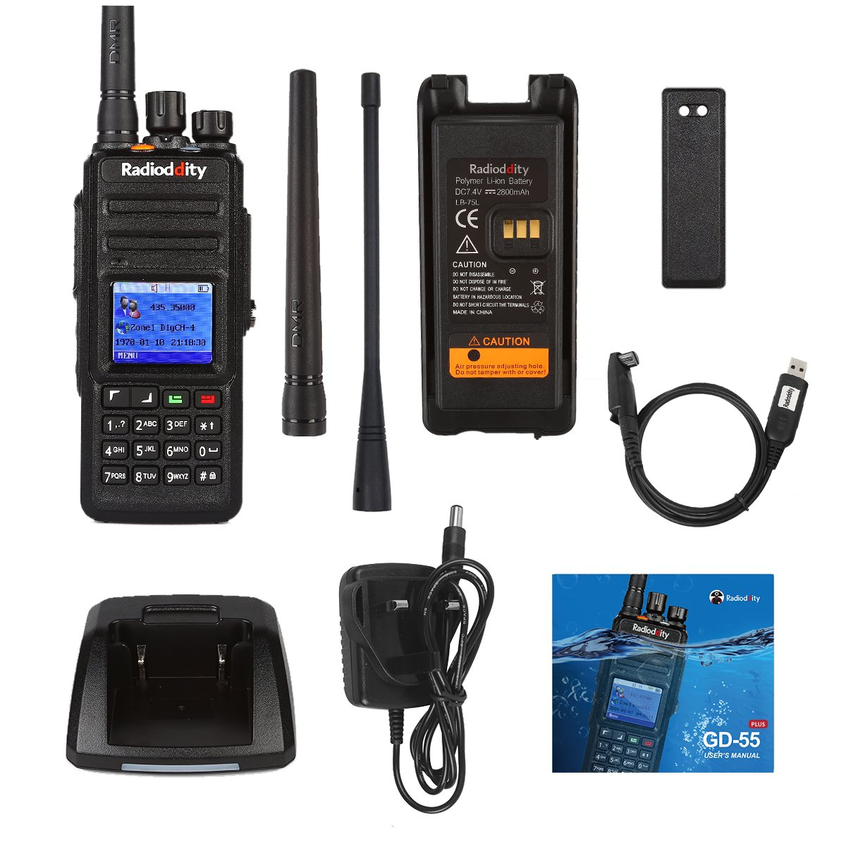 Radioddity GD-55 Plus 10W IP67 Waterproof UHF 400-470MHz 256CH 2800mAh DMR Digital Two Way Radio Ham Radio Compatible with Mototrbo Dual Time Slot, with Free Programming Cable and 2 Antennas by Radioddity (Image #7)
