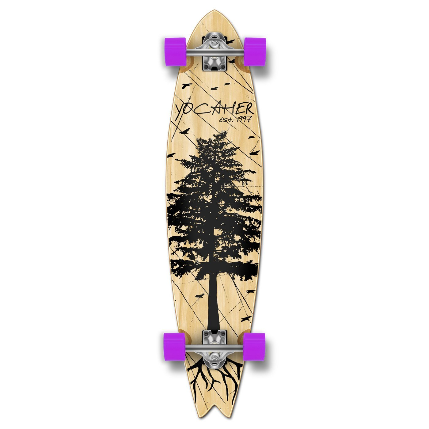 Yocaher In The Pines NATURAL Longboard Complete Skateboard - available in All shapes (Fishtail)
