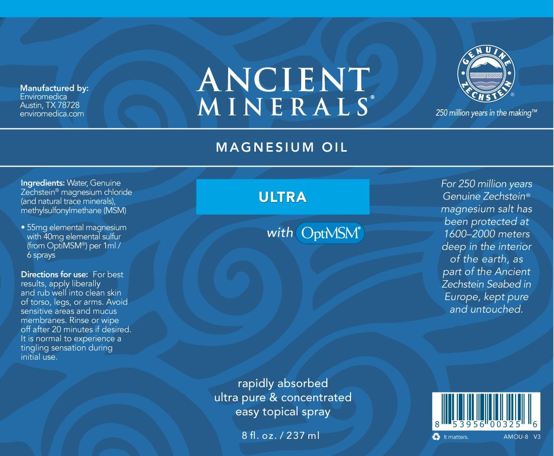 Ancient Minerals Magnesium Oil Ultra with OptiMSM 8 oz. - Pure Genuine Zechstein Magnesium Chloride Supplement with MSM - Best Topical Skin Application for Dermal Absorption