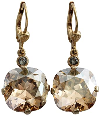 b6f5212b3 Amazon.com: Catherine Popesco Goldtone Crystal Round Earrings, Champagne  6556G: Dangle Earrings: Jewelry