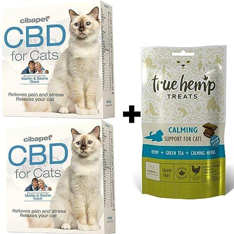 multiple Calmante para Gatos – Juego – 2 x Cibapet CBD Pastillas para Gatos y 1