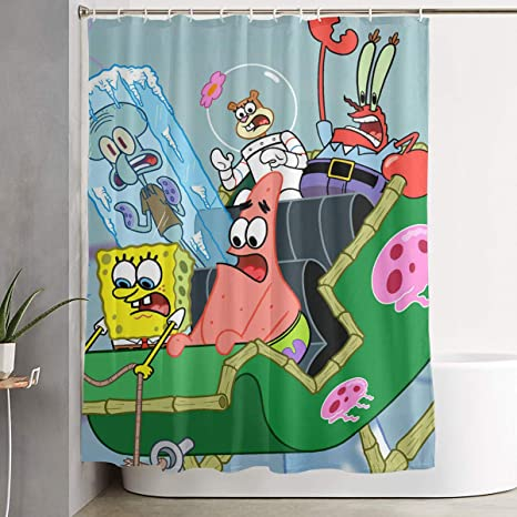 Amazon Com Liuyan Shower Curtain With Hook Spongebob