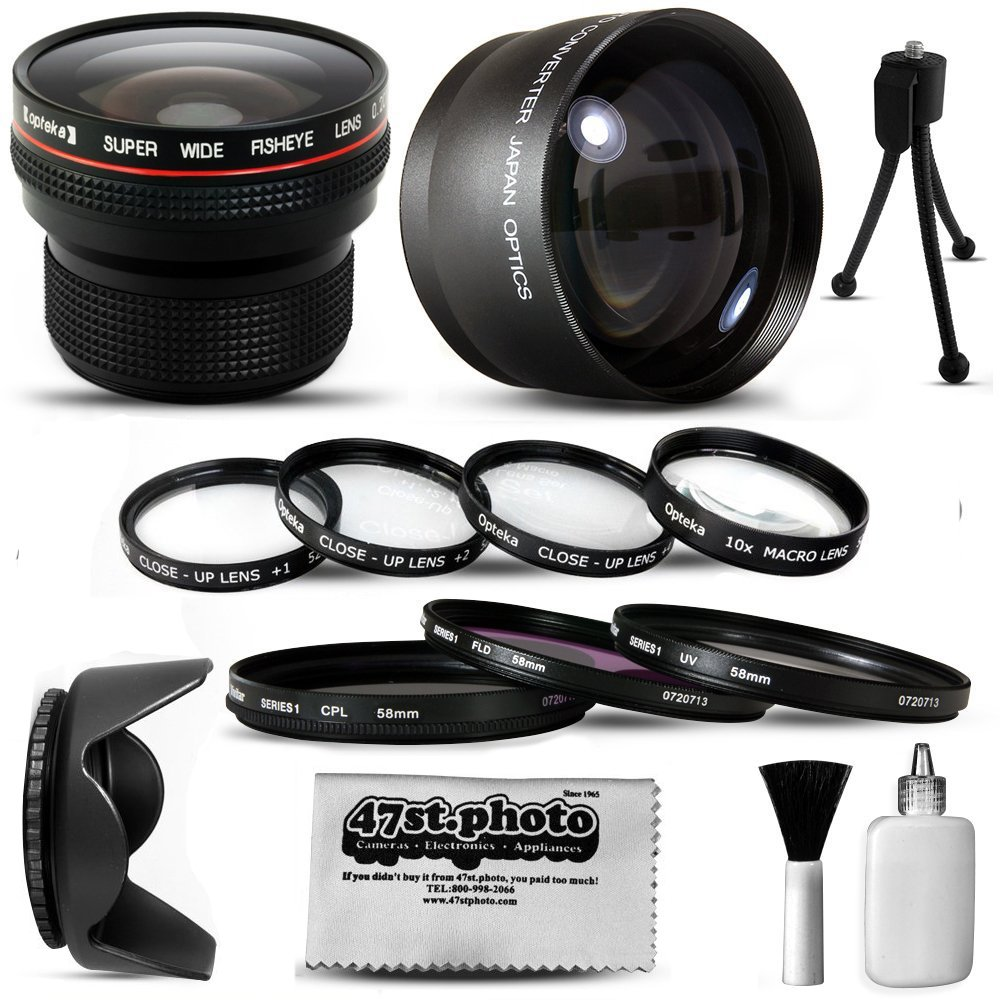 Canon PowerShot SX40 HS SX30 SX20 SX10 SX1 Ultimate 15 Piece lens Kit Package Includes 0.20X Super Wide Angle Fisheye lens, 5 PC Close-Up Set (+1, +2,+4 with 10X Macro Lens) , 2.2x HD AF Telephoto Lens + 3 Piece Pro Filter Kit (UV, CPL, FLD) + Tube Adapte