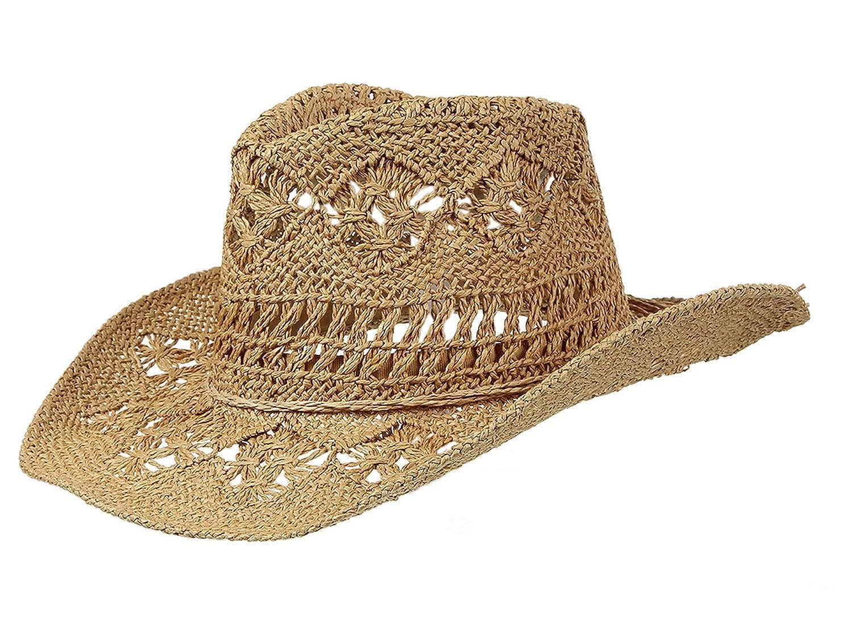 Lukis Women Hollow Out Straw Cowboy Hat Summer Sun Hat