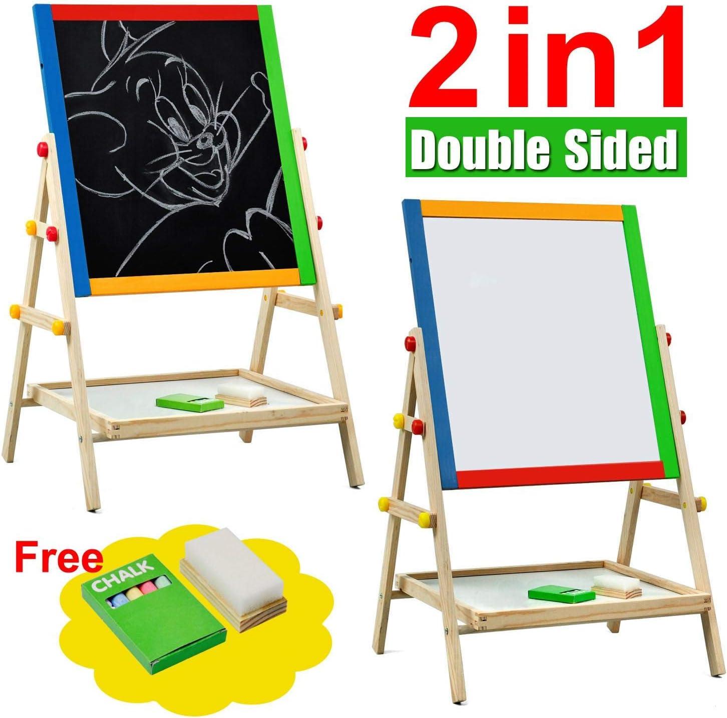 Yaheetech Wooden 2 in 1 Blackboard /& Whiteboard Easel Kids Children Double-Sided Chalk Drawing Board