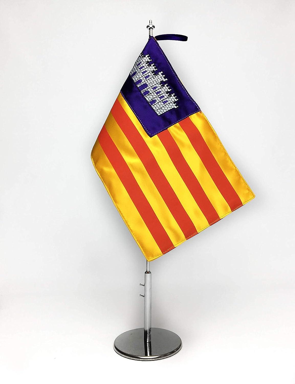 ABBE Global Bandera de Mesa Bordada de Baleares 15x25 y mástil ...