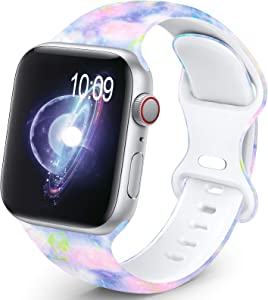 OHOTLOVE Compatible with Apple Watch 38mm 40mm 42mm 44mm for Women Men, Soft Silicone Pattern Printed Replacement Wristband Band For Iwatch Series 6 & Series 5 4 3 2 1.Multicolor A