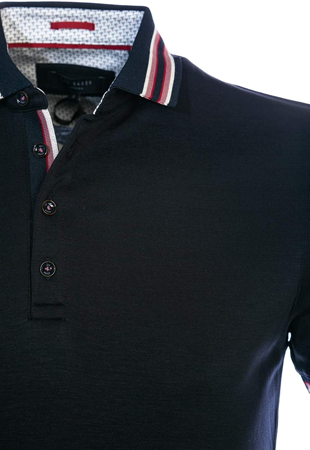 Ted Baker Teacups SS Polo Shirt with Striped Collar Navy Navy Blue