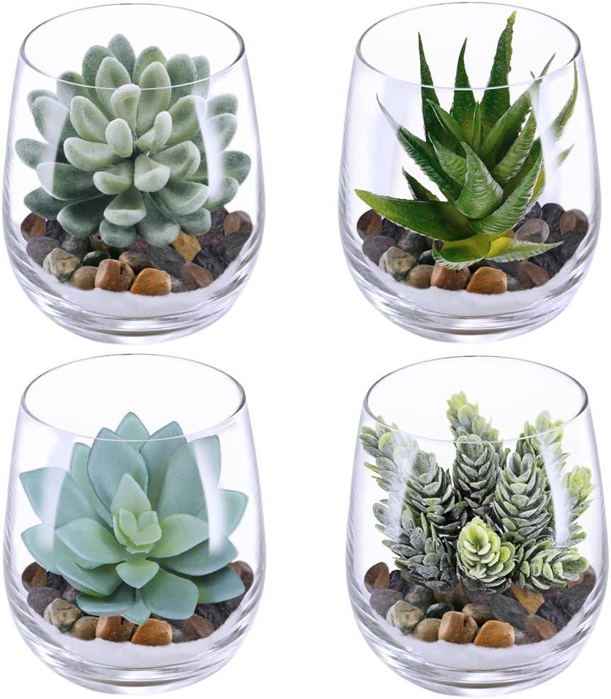Supla 4 Set Artificial Fake Succulent Plants Echeveria Terrarium Glass Containers Decorations Clear (4 Artificial Succulents+1.1 Lb White Sand+1.32 Lb Stone + 4 Glass Containers +1 Floral Wire Cutter)
