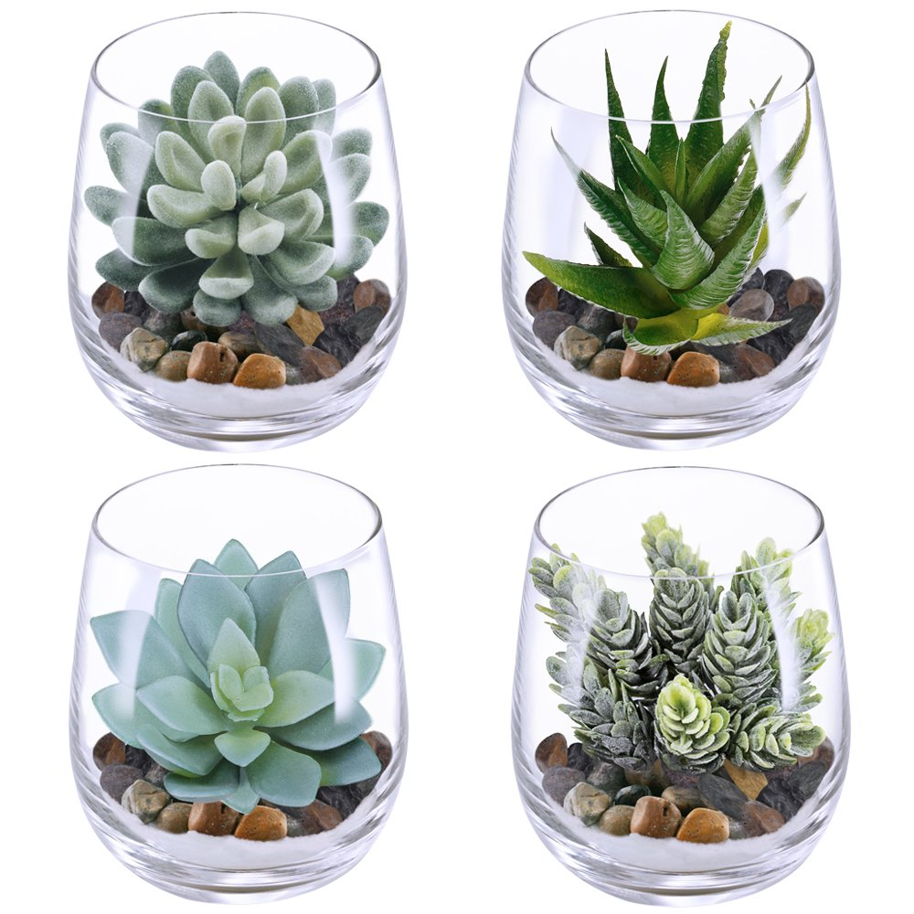 Supla 4 Set Artificial Fake Succulent Plants Echeveria Terrarium Glass Containers Decorations Clear (4 Artificial Succulents+0.5kg White Sand+0.5kg Stone + 4 Glass Containers +1 Floral Wire Cutter) B07DHJYB4J