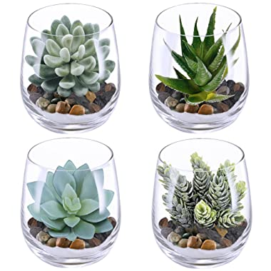 Supla 4 Set Artificial Fake Succulent Plants Echeveria Terrarium Glass Containers Decorations Clear (4 Artificial Succulents+1.1 Lb White Sand+1.32 Lb Stone + 4 Glass Containers +1 Floral Wire Cutter)