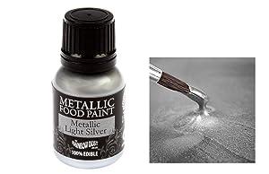 Single pot of Rainbow Dust Light Silver Edible Metallic Food Paint & 20ml Single pot of Cupcake Avenue Edible glue