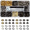 """400 Sets 4 Color Brass Grommet Eyelets Kit Tool 6mm 1/4"""" Inside Diameter with Setting Tool Canvas Clothes Leather Self Backin"""