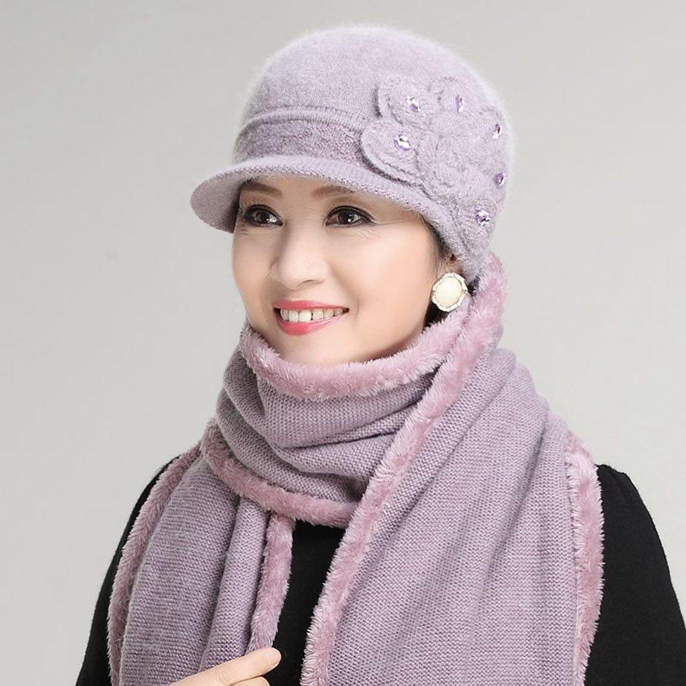 XIAOXIAO Medioevo Signora Autunno E Inverno Vecchia Signora Cappello Sciarpa Inverno Nonna Di Mezza Età Cappello Della Madre Molti modi ( Colore : 4 ) LZR