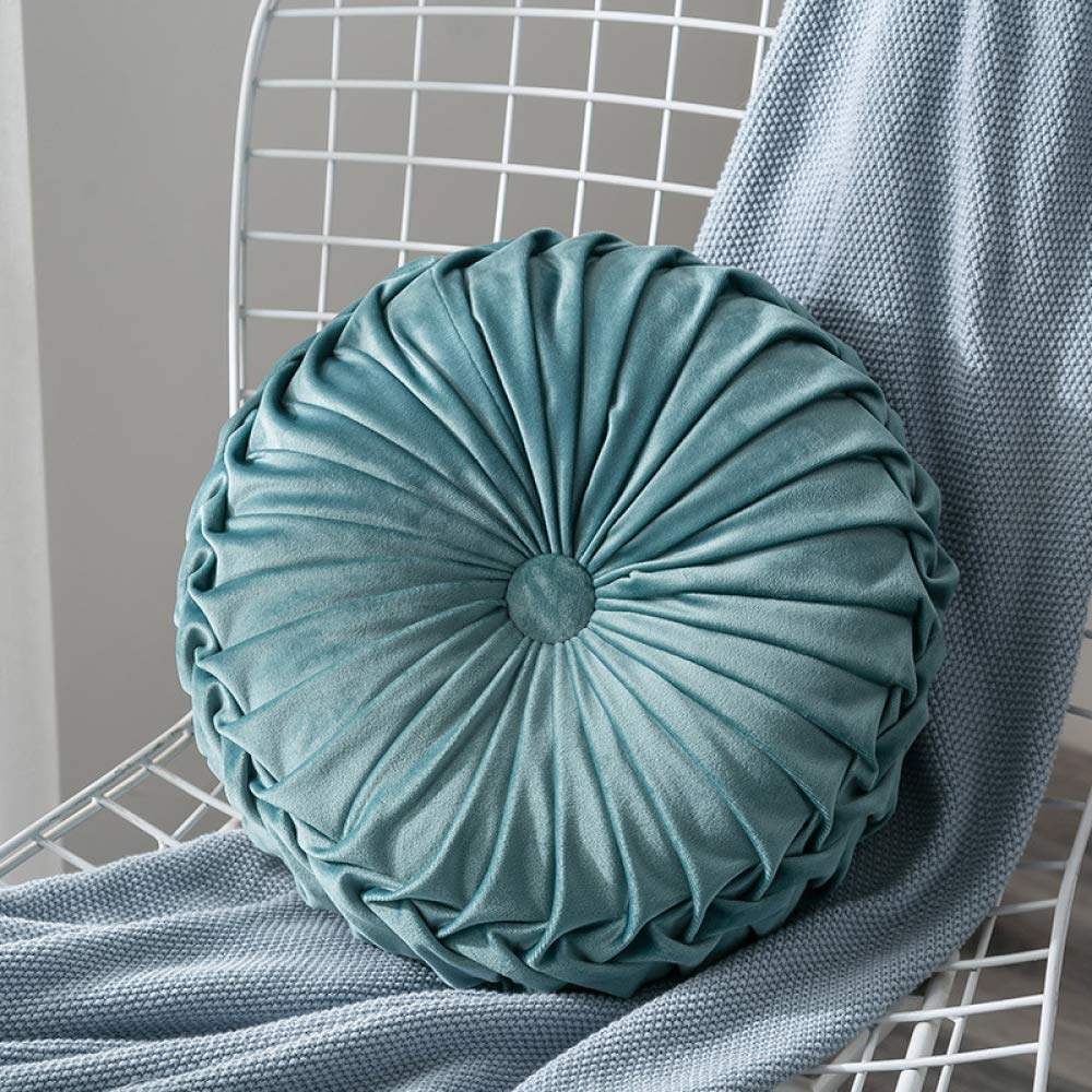FASTCXV Cross-Border Explosion Models Dutch Velvet Pumpkin pad Solid Color Nordic Wind Handmade Pleated Cushion Bay Window Wheel Pillow Light Blue Diameter 35CM by FASTCXV