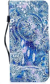 Coopay Blanc Coque Samsung Galaxy S9 Plus 6.2' Glitter Laser Lumière Bleu Effet Luxe Housse en Cuir PU Chat Mignonne Motif Flip Rabat Magnétique Portefeuille Antichoc Etui + Dragonne Cou COOPAYPT09738