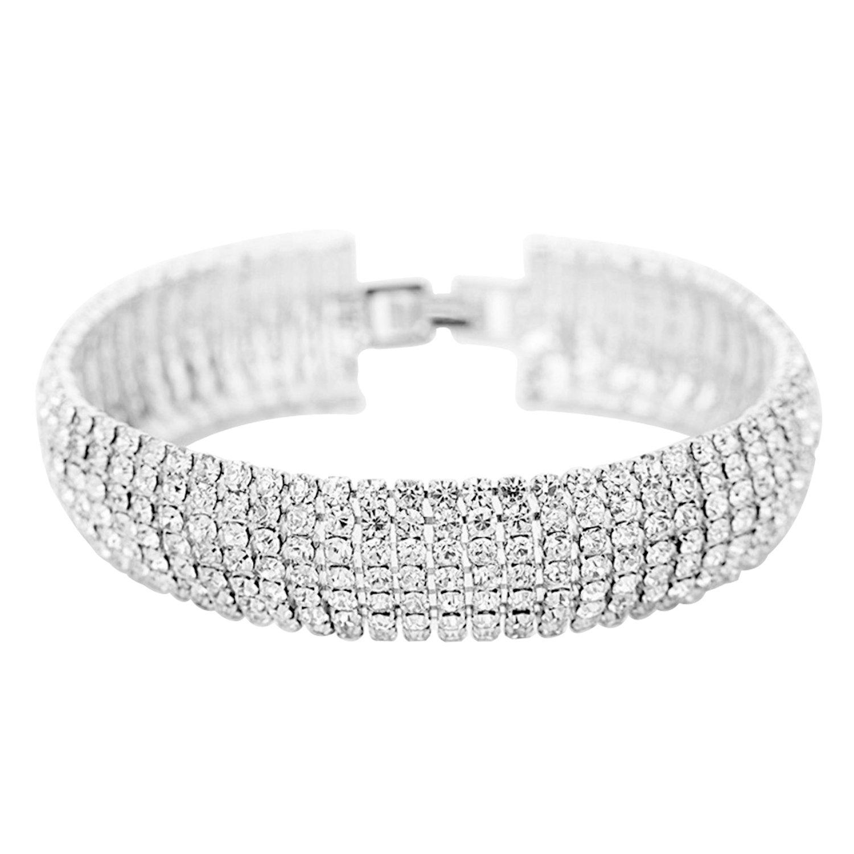 Crystal 6 Row Rhinestone Tennis Bracelet w/ Toggle Clasp - Silver Plated