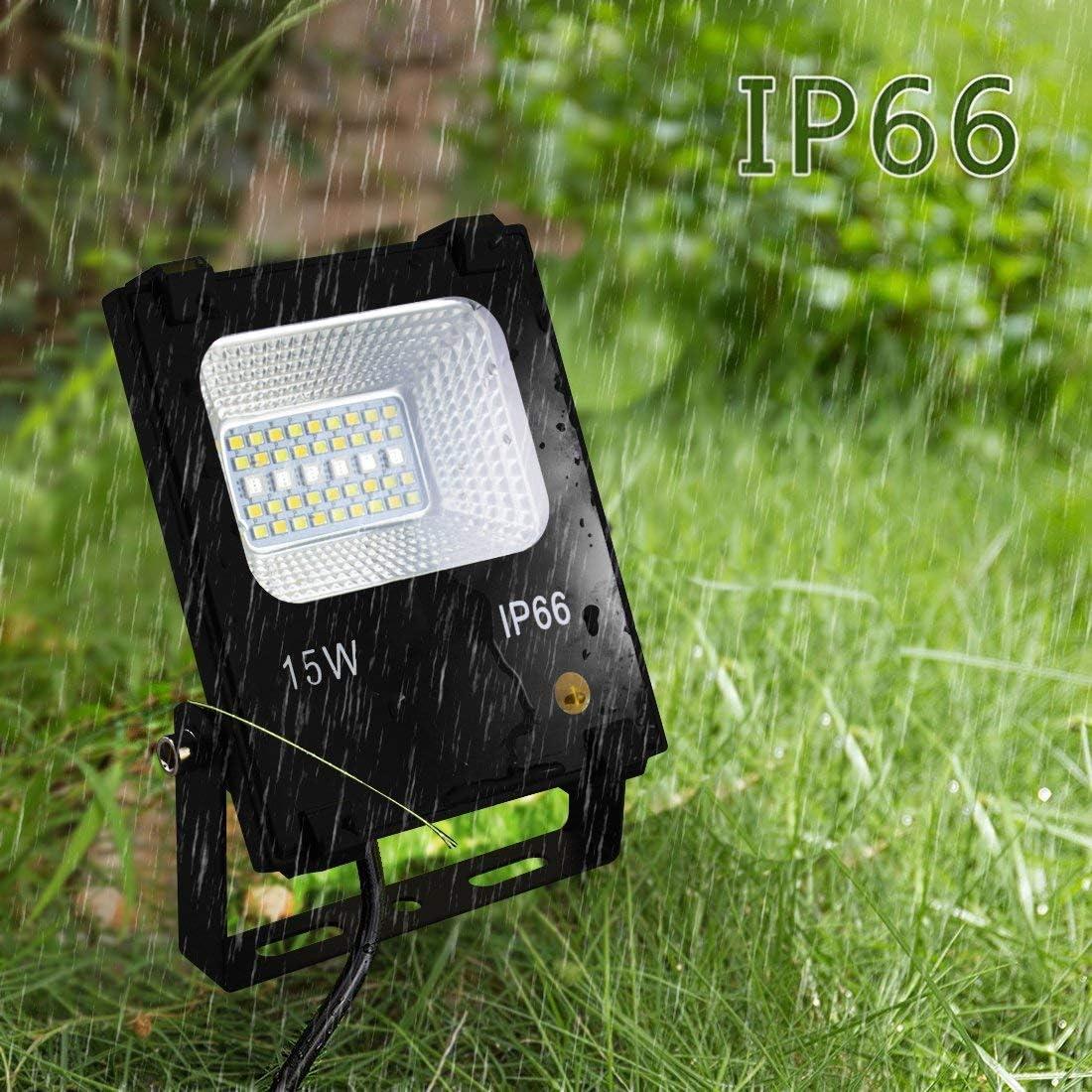 Dimmable LED Flood Light 2 Pack 15W Outdoor RGB Color Changing Led Stage Lights with Remote 100W Equivalent Landscape Lighting IP66,US 3-Plug 120 Colors,RGBW 2700K-5700K Adjustable DIY Flash Mode