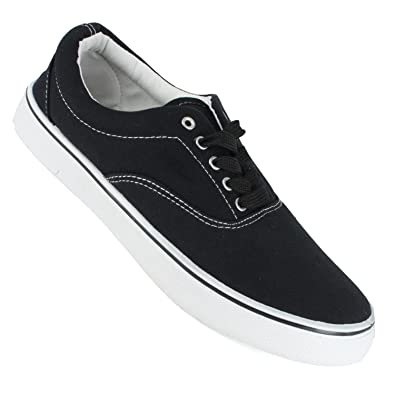 20bb1fa7128 Octave® Mens Retro Vintage Classic Style Black Lace Up Canvas Pump Shoes  With White Toe Cap Box  Size 6   Amazon.co.uk  Shoes   Bags