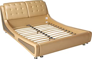 Container Direct Queen Size Platform Bed, Pearl Gold/Gray