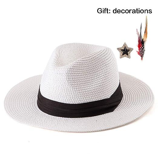 fc6b346607f46e Beach Straw Hat for Women - Wide Brim Sun Hat Women White Hat Straw ...