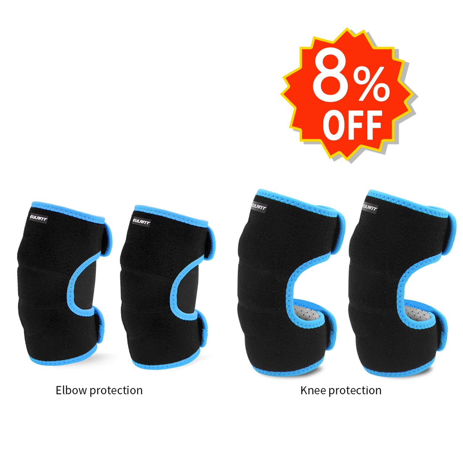 EULANT Sports Knee and Elbow Pads for Kids, Adjustable Protective Set for Biking Cycling Bicycle Riding Rollerblading Skating Skateboarding