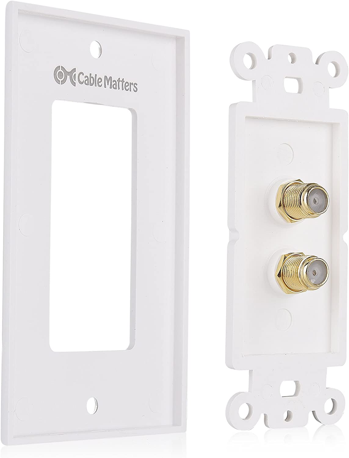 in White Cable Matters 2-Pack 2-Port TV Cable Wall Plate Coax Wall Plate