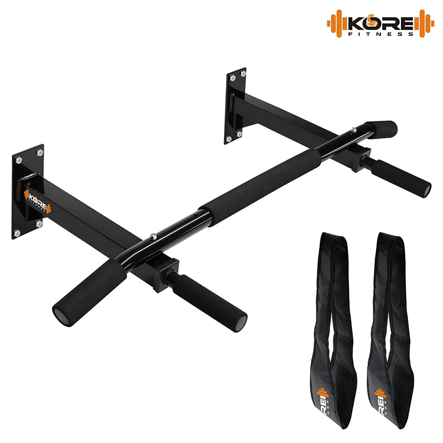 Kore Wall Mounting Chin Up Bar With Solid One Piece Construction Bar + Ab Straps fitness Combo