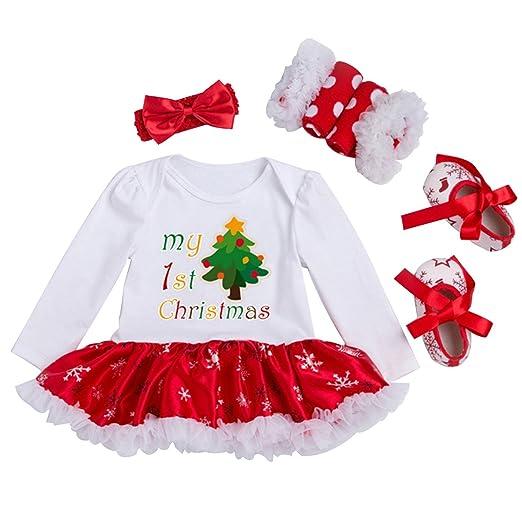 Newborn Christmas Outfit Girl.Looching Newborn Baby Girls Christmas Outfit Infant Romper Tutu Dress 4pcs Set