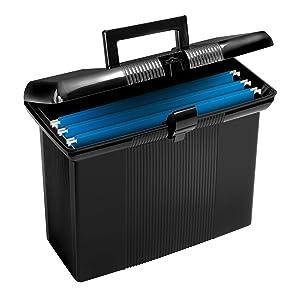 """Pendaflex Portable File Box, Black, 11"""" H x 14"""" W x 6-1/2"""" D(41732)"""