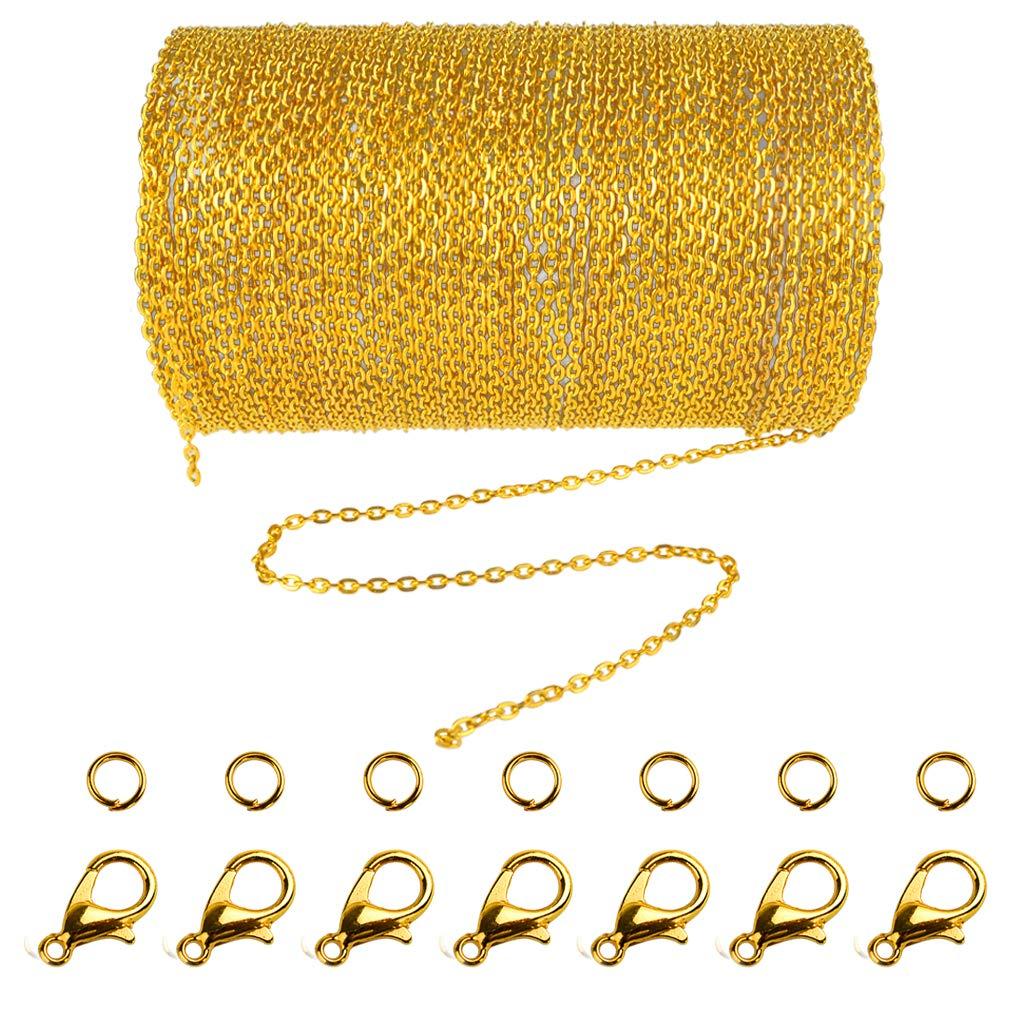Jerbro 33 Füße Edelstahl DIY Link Kette Ketten Gliederkette Halsketten mit 20 Karabiner Verschlüsse und 30 Sprung Ringe für Schmuck Basteln Herstellung, 1,5 mm