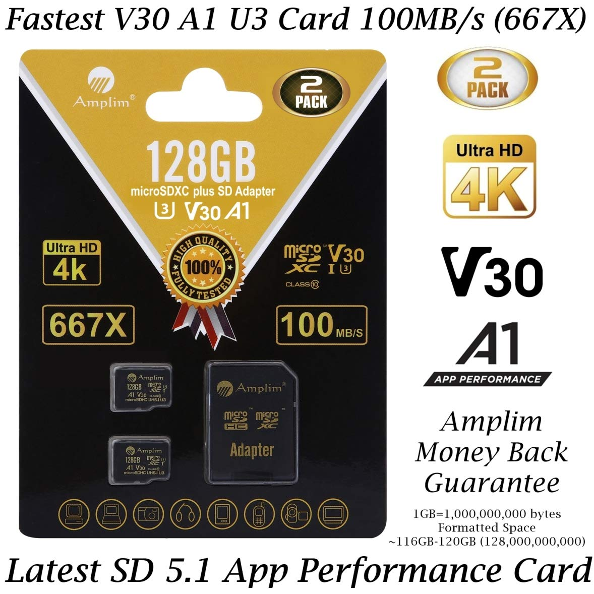 2-Pack 128GB Micro SD SDXC Card Plus Adapter Pack - Amplim 2X 128 GB MicroSD Card V30 A1 U3 C10 Extreme Speed 100MB/s UHS-I TF XC MicroSDXC Memory Card for Cell Phone, Nintendo, Galaxy, Fire, Gopro by Amplim