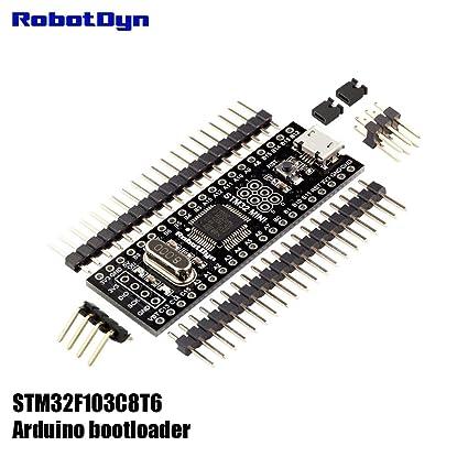 RobotDyn - STM32 Black Pill with ARDUINO BOOTLOADER, Original STM32F103C8T6  ARM Cortex-M3 Minimum System Development Board  Pinheaders Not Soldered