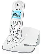 Alcatel F390- Téléphone sans fil ultra efficace au design coloré, Pure Sound, Mains libres, Grand écran rétroéclairé, Grand répertoire, Sonnerie VIP - Blanc/Gris