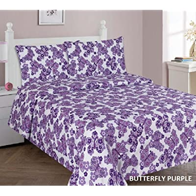 Kids printed sheet set: Flat & fitted sheets with pillow cases. Choose from butterfly, Dinosaur, Shark, Princess, sports, sailor prints Twin or Full (Twin, Butterfly Purple): Home & Kitchen