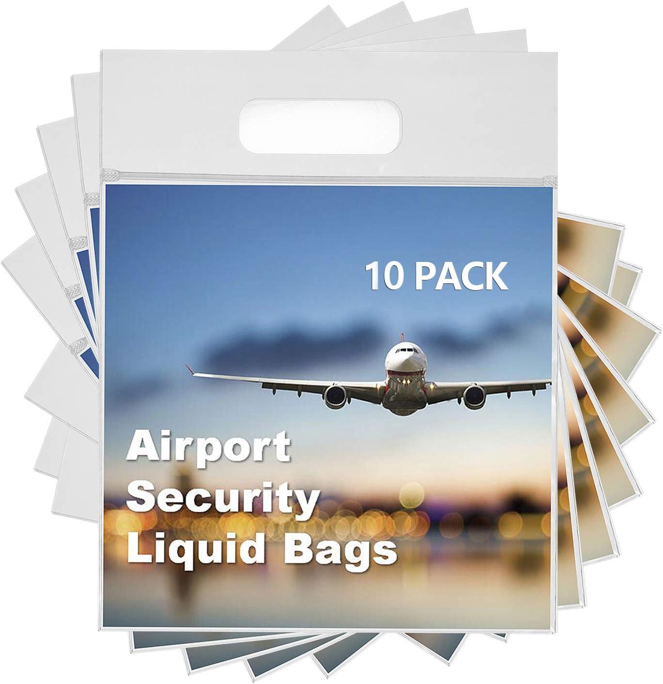 Neceser y Bolsa Transparente para Líquidos en el Equipaje de Mano.Bolsas de Líquidos para Viaje en Avión, Plástico y Resellable con Dimensión de 20 x 20cm y Capacidad de un litro [12