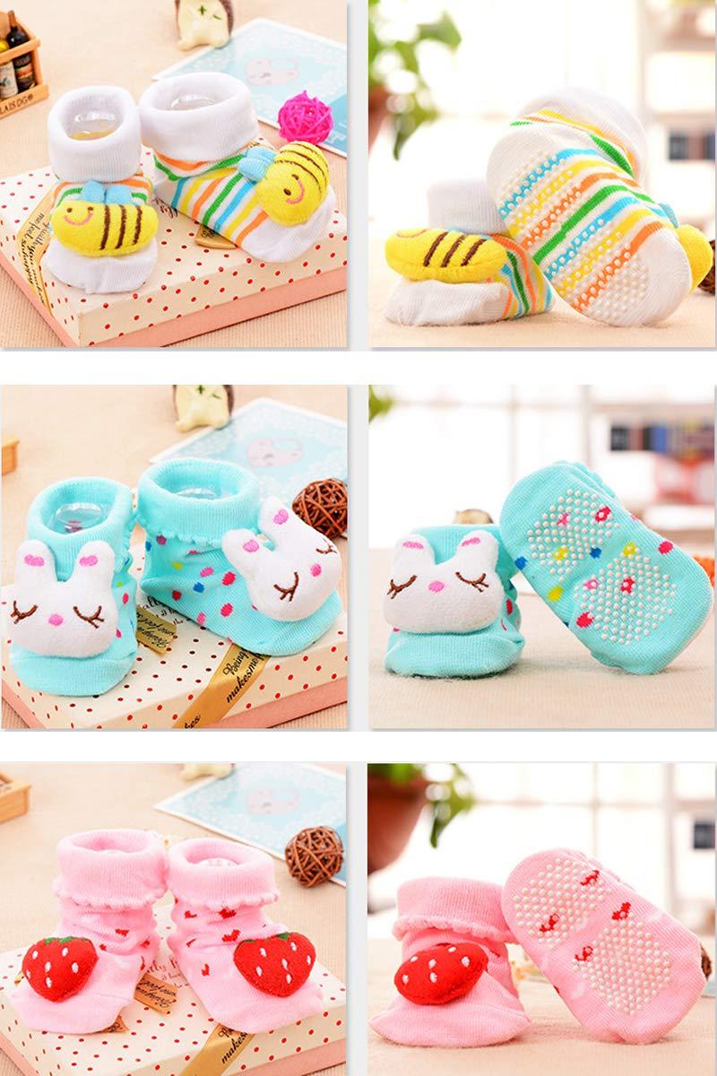 Z-Chen 6er Pack Rutschfeste Socken f/ür Babys 3D Tier Motive Set B 0-9 Monate