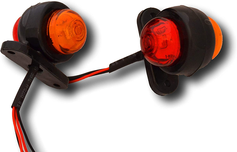 2 x 24 V LED 2 SMD rojo /ámbar marcador lateral Outline luces de claridad l/ámparas de direcci/ón Indicadores Wagon Truck Trailer Lorry Tractor BUS Uso universal