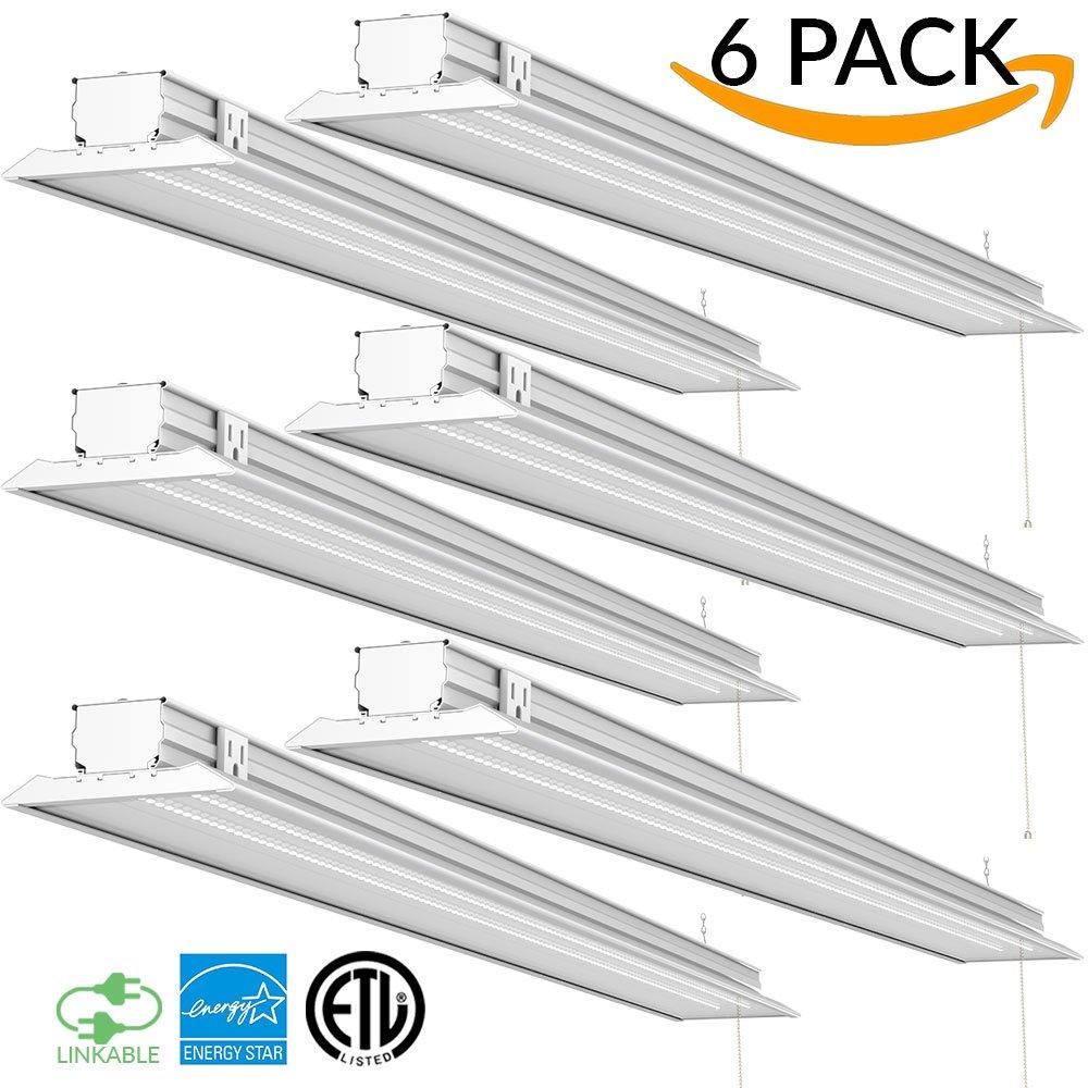 Sunco Lighting 6 PACK - ENERGY STAR 4ft 40W LED Utility Shop Light FLAT DESIGN 4500lm 120W Equivalent, LED Fixture, 5000K Daylight Ceiling Light, Garage/Basement/Workshop, Linkable, ETL, Clear by Sunco Lighting