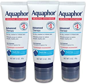 Aquaphor Healing Ointment With Touch-Free Applicator - Pack of 3, For Dry Chapped Skin, Use After Hand Washing for Dry Hands - 3 oz.