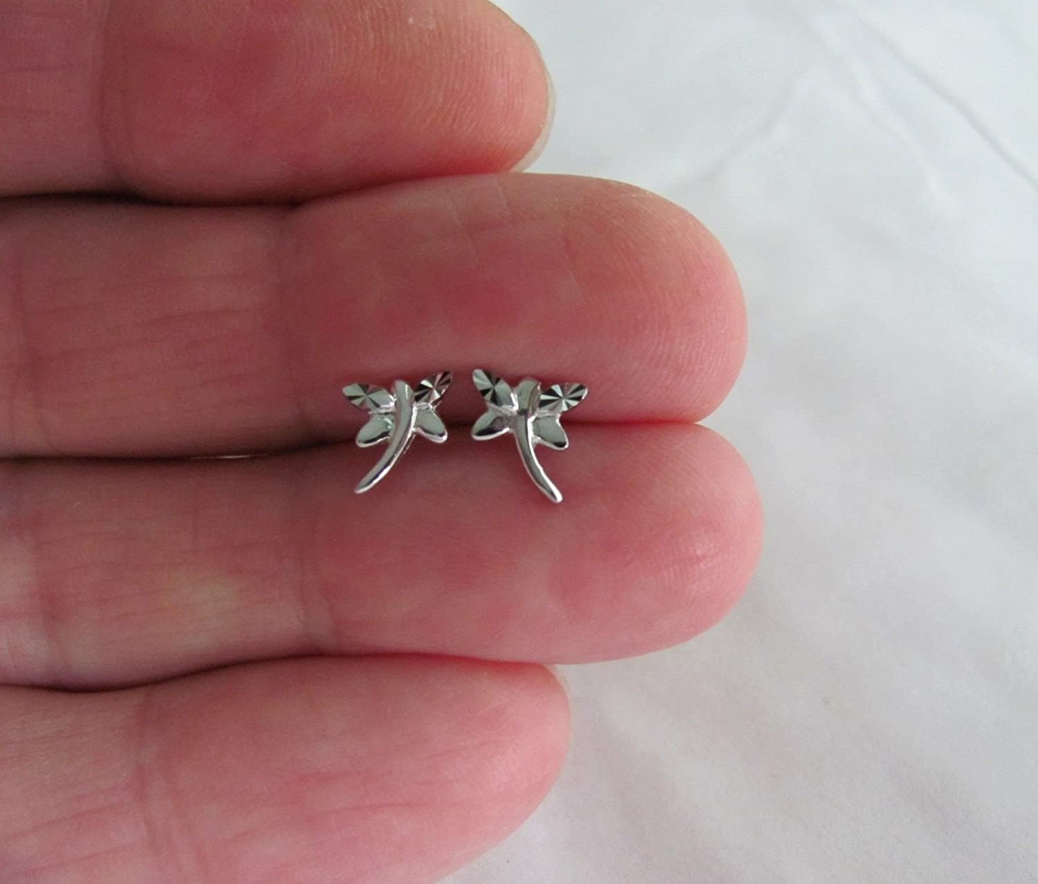 Sterling Silver 7mm Tiny Dragonfly Post Stud Earrings
