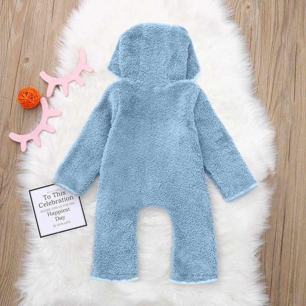 Newborn Baby Winter Thicken Cartoon Sheep Snowsuit Warm Fleece Hoodie Romper