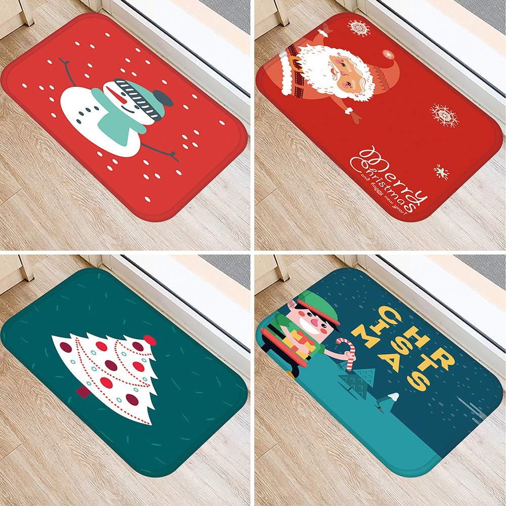 XdiseD9Xsmao Christmas Santa//Snowman//Tree Pattern Blanket Carpet Anti-slip Durable Living Room Bathroom Door Floor Mat Carpet Cushion 1#