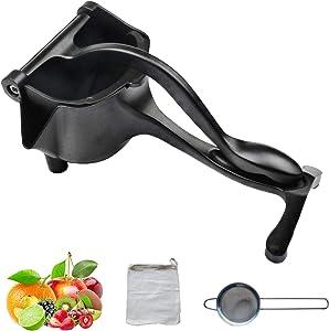 Kolteal Manual Juicer - Heavy Duty - Citrus Press - Hand Fruit Squeezer - Fruit/Vegetables/Nuts - Fresh Juice - Handheld - Stainless Steel Strainer + Filter Bag (Black)