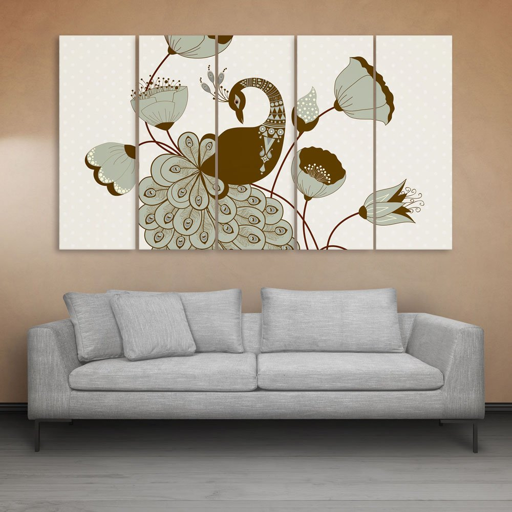 Inephos multiple frames beautiful peacock wall painting 150cm x
