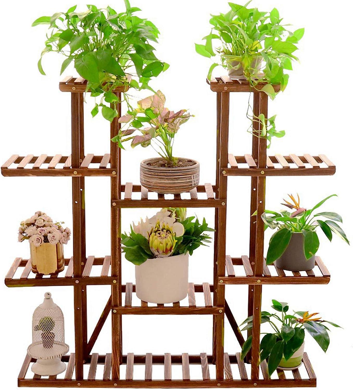 Plant Stands Indoor Outdoor Vertical Flower Rack Multi-Tiers Wooden Storage Ladder Corner Plant Display Stand Rack for Living Room Balcony Patio Yard