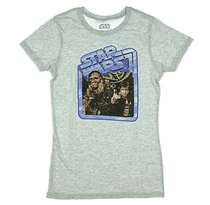 467670a0 Amazon.com: Star Wars Vintage Han Solo & Chewbacca Juniors T-Shirt ...