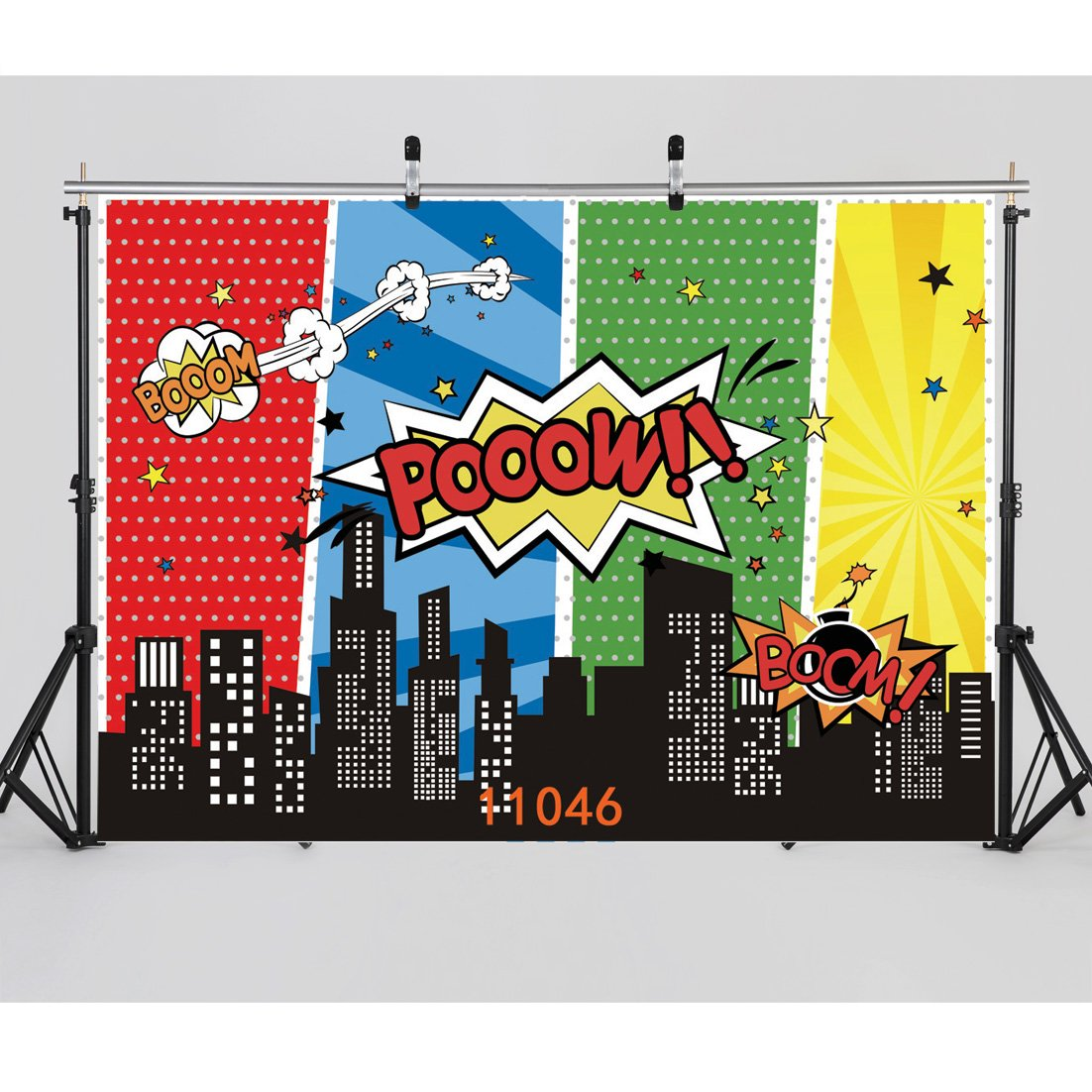 WOLADA 7x5ft Superhero Backdrops Vinyl Super City Photo Backgrounds Photography Birthday Party for Children 11046