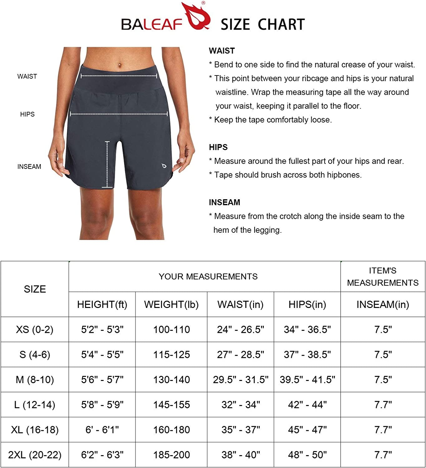 BALEAF Women's 7 Inches Long Running Shorts with Liner Lounge Sport Gym Shorts Back Zipper Pocket: Clothing