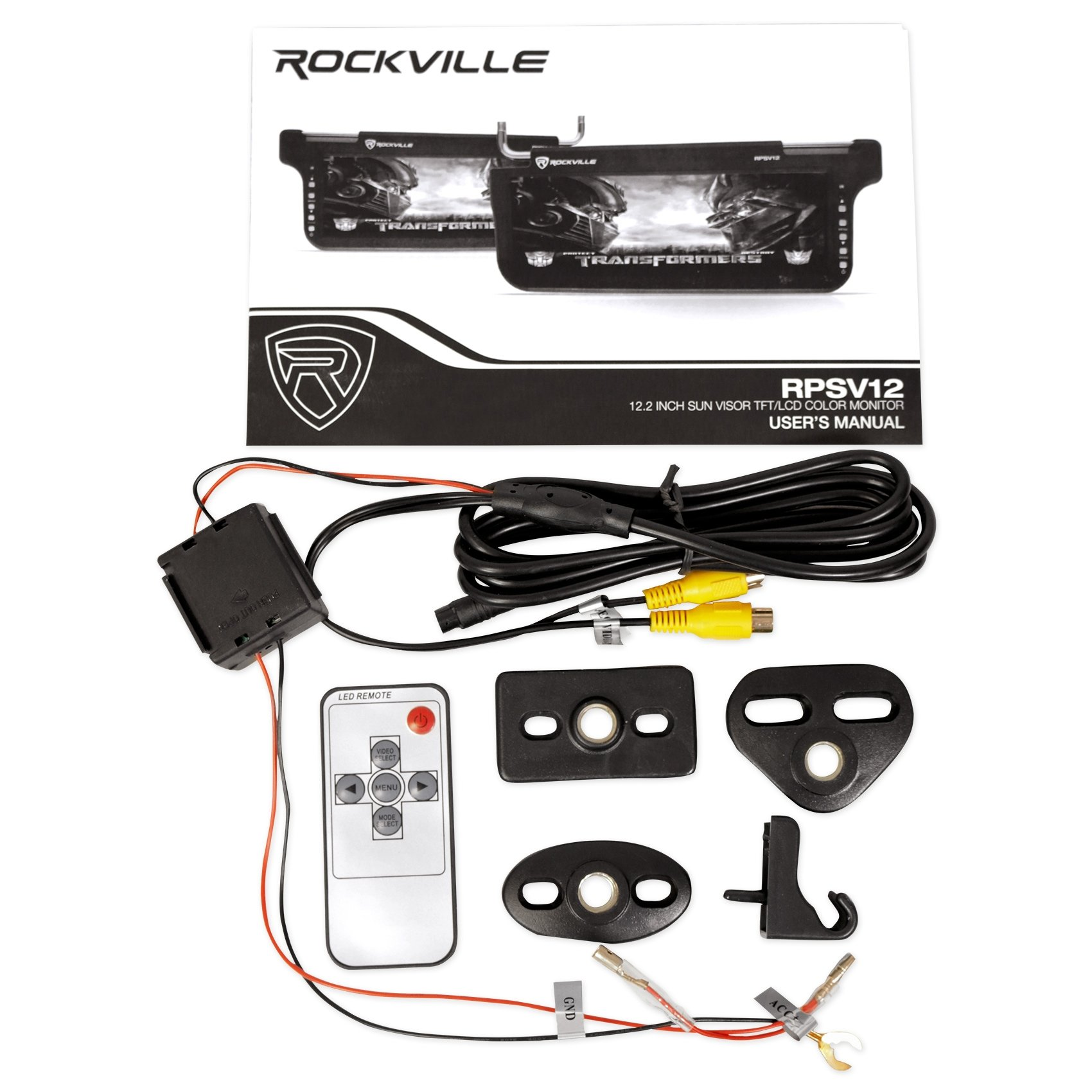 (2) Rockville RPSV12-BK 12.1'' Black Car Sun Visor Monitors/High Definition!
